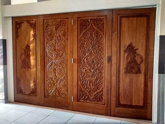 Pintu Lipat Ructic Ukiran Kayu Jati